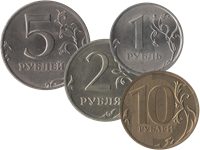 Coins of Russia with denomination of 1, 2, 5 and 10 rubles